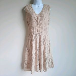 2/$15 Beige Lace Sleeveless Fit & Flare Dress - 8